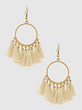 Cream Drop Tassel Earrings