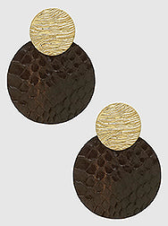 Brown Snakeskin Statement Earrings
