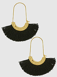 Black Drop Fringe Earrings