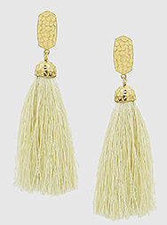 Tassel Statement Earrings, Cream