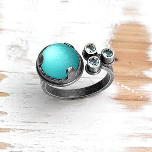 Light Aqua and Topaz Ring