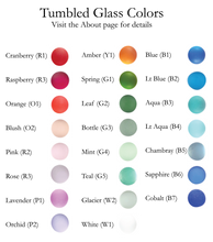 Load image into Gallery viewer, Color chart showing tumbled glass options
