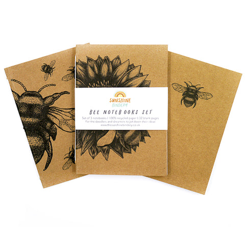 Pack of 3 Bee Notebooks