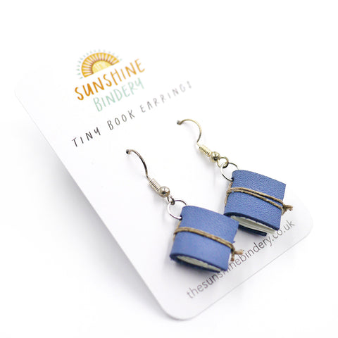 Deep Blue Tiny Book Earrings
