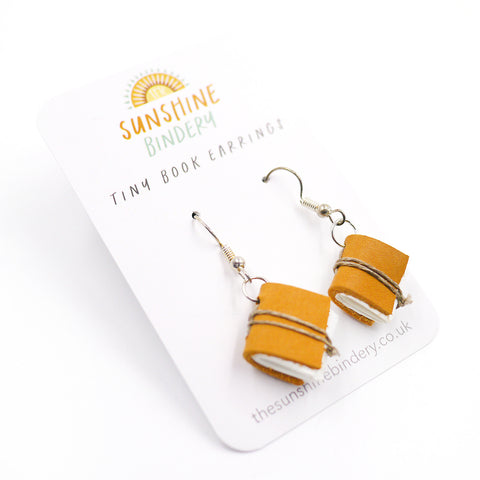 Sand Yellow Tiny Book Earrings