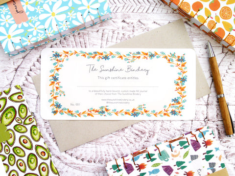 Custom Journal Gift Certificate