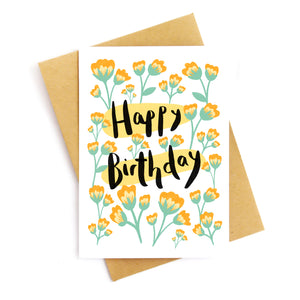 Happy Birthday Folk Florals Card
