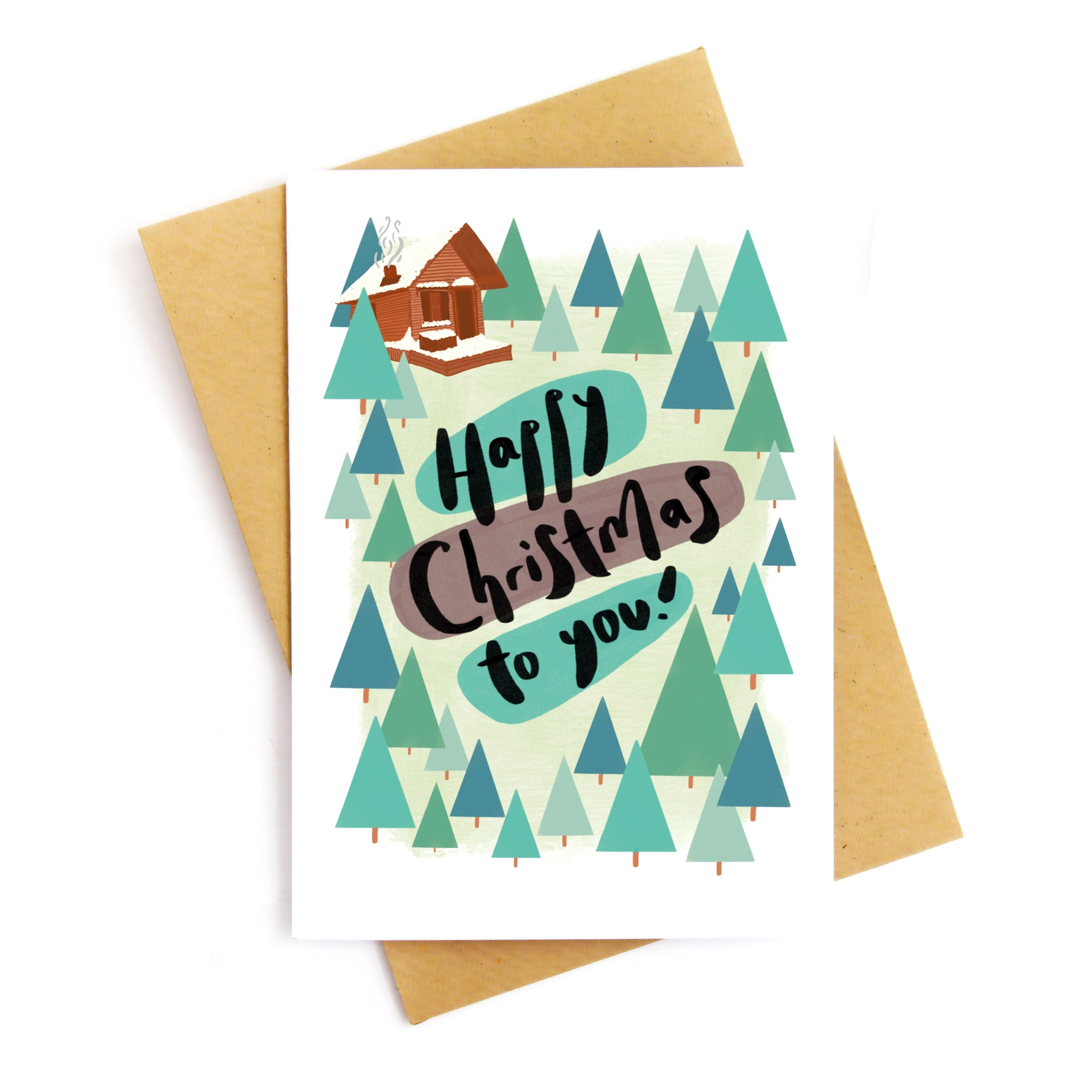 Happy Christmas Log Cabin Card