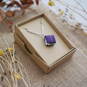 Purple Tiny Book Necklace