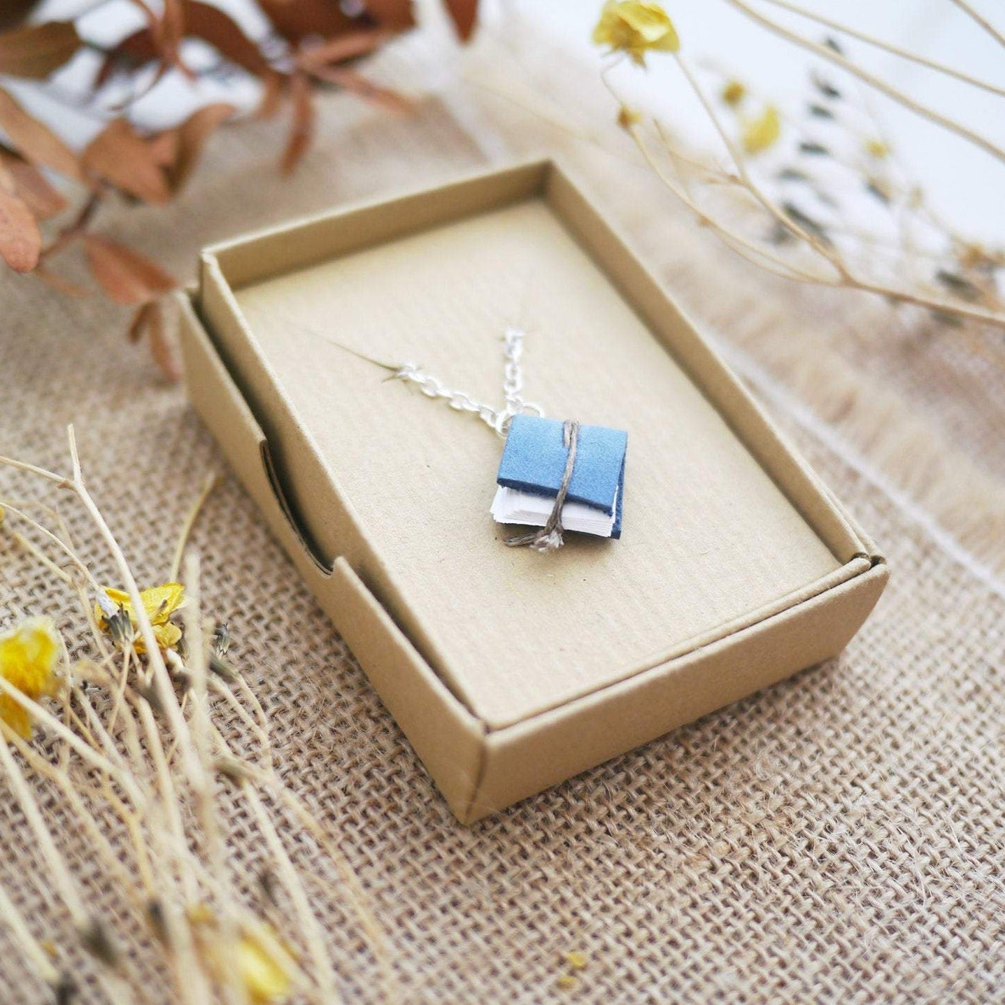 Blue Tiny Book Necklace