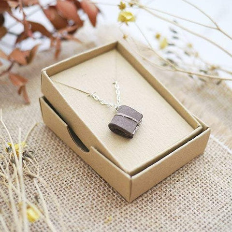 Chocolate Brown Tiny Book Necklace