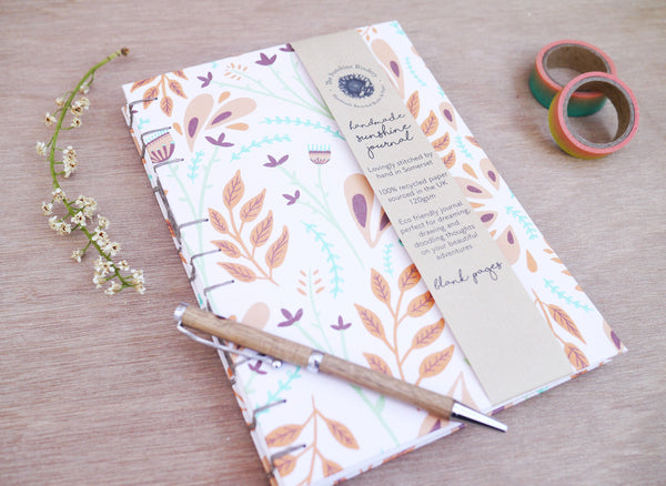 Floral A5 Eco Friendly Recycled Journal - Custom Blank, Lined, Dotted