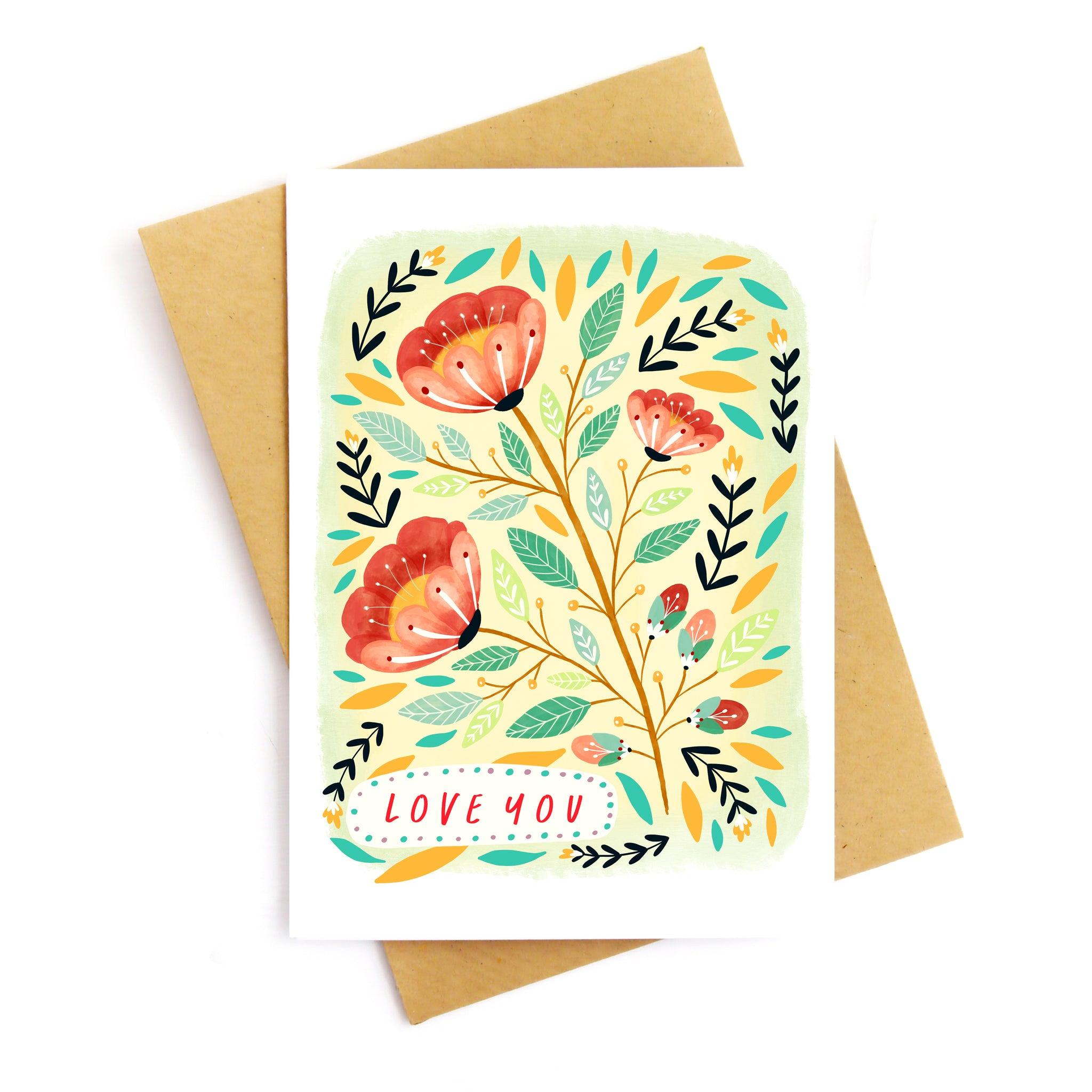 Love You Florals Greetings Card