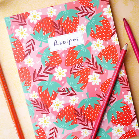 Chunky Strawberry A5 Recipe Notebook