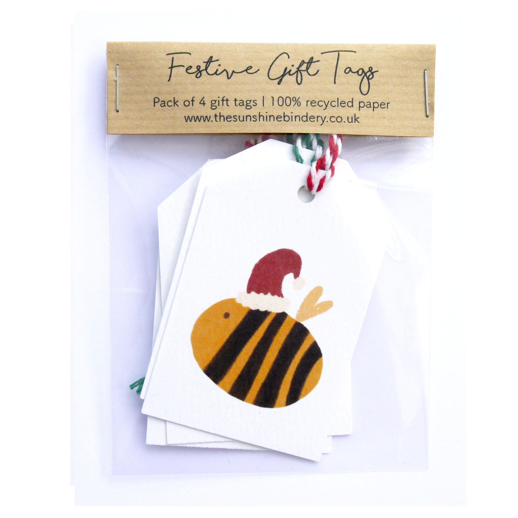 Festive Bumble Bee Gift Tags Pack