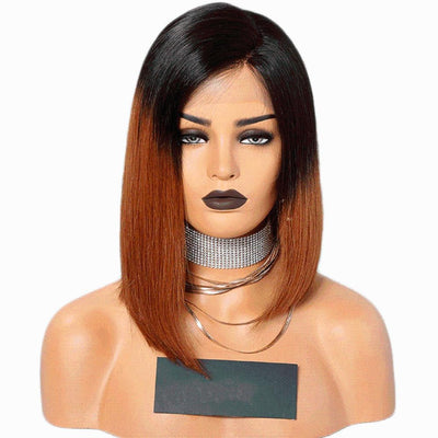 "Cheveux Luxury 12"" Cambodian Yaki Straight Asymmetrical Bob Full Lace Wig"