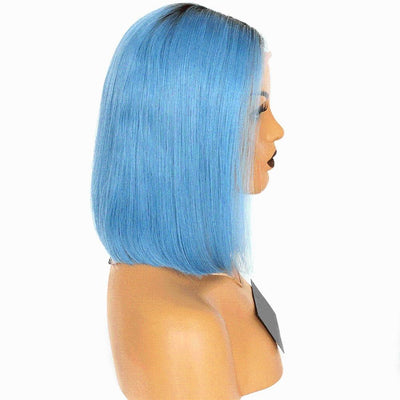 Cheveux Luxury Brazilian Straight Bob – Dark Roots, Blue