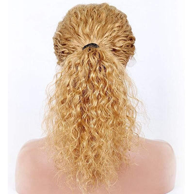 Cheveux Luxury European Honey Blonde Kinky Curl Lace Front Wig