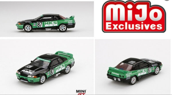 Mini GT 1:64 MiJo Exclusives - Nissan GT-R R32 Nismo S Tune HKS (Green/Black) Limited Edition 1 of 1,200