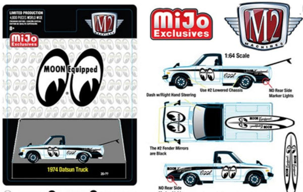 M2 Machines 1:64 Mijo Exclusive Auto Trucks 1974 Datsun 620 Pick Up Truck Mooneyes With Surf Board Limited 4,800 Pcs