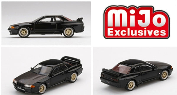 Mini GT MiJo Exclusives - Nissan GT-R R32 (Black) with BBS wheels