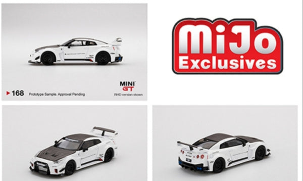 Mini GT Mijo Exclusive USA LB- Silhouette Works GT Nissan 35GT-RR Version 1 White Limited New Tooling