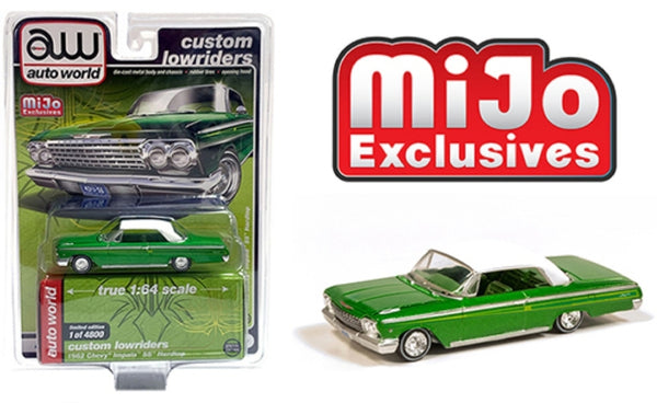 Auto World Custom Lowriders - 1962 Chevrolet Impala SS Hard Top - Green with white top
