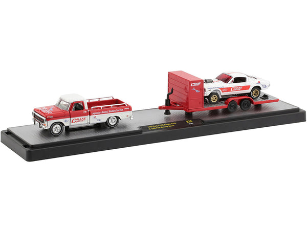 "1969 Ford F-100 Ranger Pickup Truck with Trailer and 1966 Ford Mustang Gasser White with Red Stripes ""Crane Cams""."