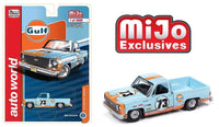 AUTO WORLD 1:64 MIJO EXCLUSIVE 1973 Chevrolet Cheyenne Gulf weathered Livery Limited 4,800