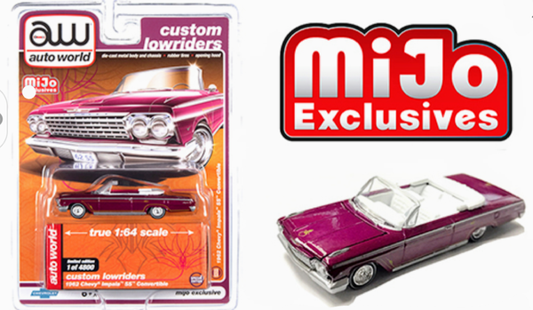 Auto World 1:64 Mijo Exclusive Custom Lowriders 1962 Chevy Impala SS Convertible Plum Limited Edition 4,800