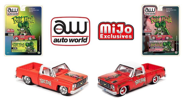 **PRE-ORDER**Auto World Mijo Exclusive Rat Fink 1978 Chevy Silverado K10 Rat Rod Limited 3,000 Pcs Each SET OF 2 TRUCKS