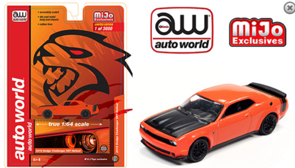 ***Preorder***Auto World 1:64 Mijo Exclusive 2019 Dodge Challenger SRT Hellcat Orange Limited 3,000 pcs
