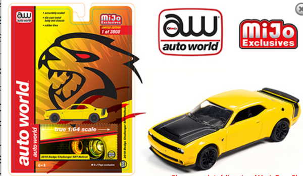 ***Preorder***Auto World 1:64 Mijo Exclusive 2019 Dodge Challenger SRT Hellcat Yellow Limited 3,000 pcs