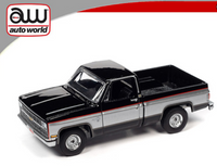 Auto World 1:64 Chevy Silverado 10 1981 Black w/ Silver Two Tone