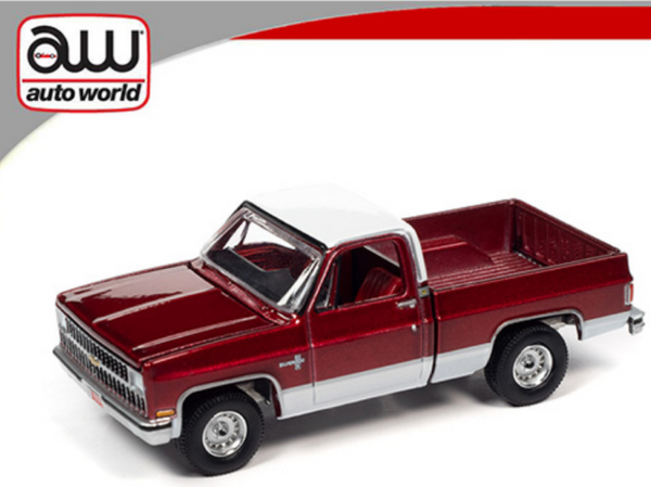 **PRE ORDER ** Auto World 1:64 Chevy Silverado 10 1981 RED w/ White Top