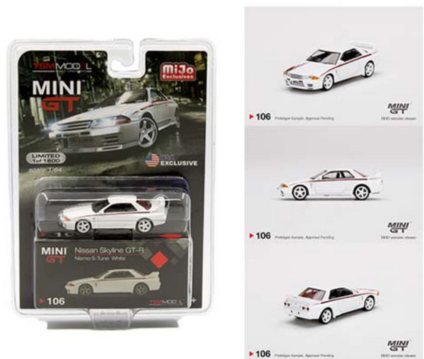 Mini GT 1:64 Nissan GT-R R32 Nismo S-Tune White MiJo Exclusives