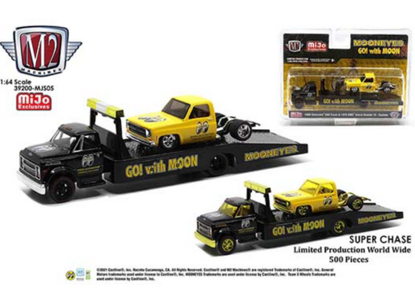 (Preorder) M2 Machines Mijo Exclusive Auto Haulers 1968 Chevy C60 & 1976 GMC Sierra Grande 15 Custom Bed Less Mooneyes