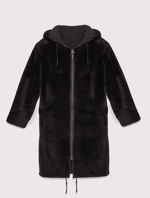 Parka Reversibile in Montone Nero