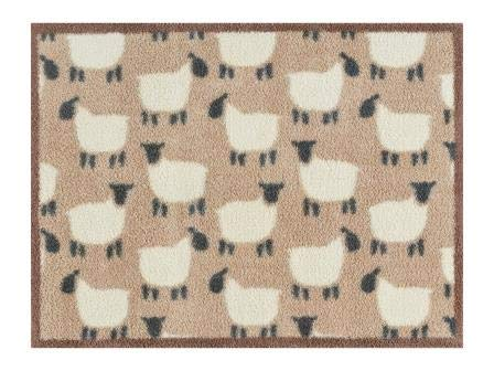 Sheep - Neutral - Design Turtle Mat - Multi-Grip backing Highly Absorbent Indoor Barrier Mat 60x85cm
