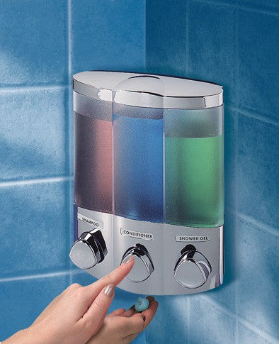 Aviva Satin Silver Trio Soap and Gel Dispenser for corner or flat wall mounting