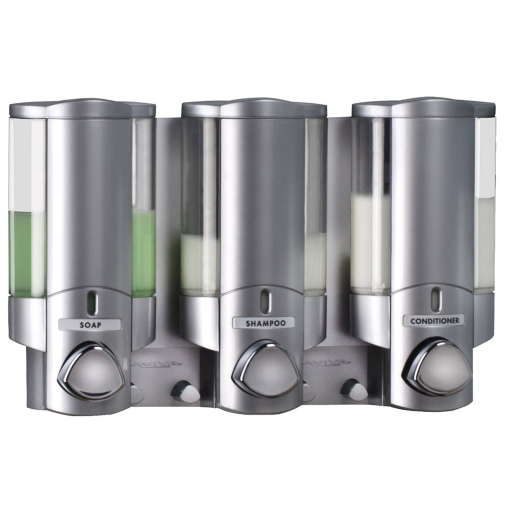 Aviva Triple Chamber Soap Gel Shampoo Dispenser SATIN/SILVER Bathroom Shower Easy fix