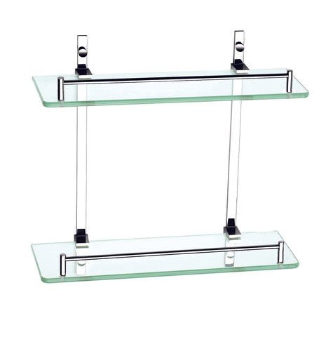 Luxxur Exclusive Double Glass Wall Shelf with Chrome On Brass Mounts S022 Size 355x355x150mm