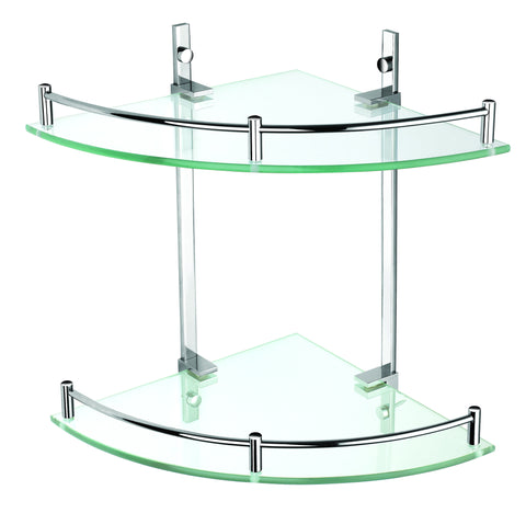 Luxxur S023 Superior 2 Tier Bathroom Glass Corner Shelf Chrome on Brass Mounts