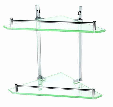 Luxxur Exclusive Flat-front Double Glass Shelf with Chrome On Brass Mounts S024 Size 355x250mm