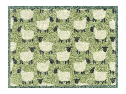 Sheep - Green - Design Turtle Mat - Multi-Grip backing Highly Absorbent Indoor Barrier Mat 60x85cm