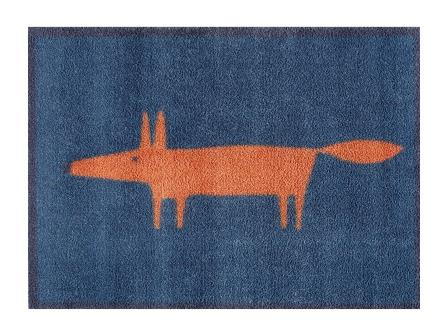 Turtle Mat - Mr Fox - NAVY - (Scion) Design -  Multi-Grip backing 60X85cm