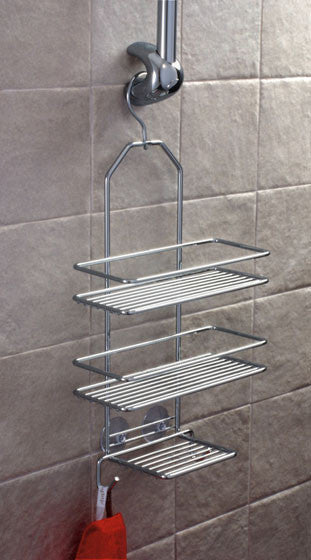 Satina Chrome 1 Hook Triple Hanging Shelf