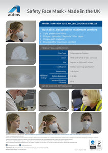 Safety Face Mask - Soft and Comfortable – Immediate Availability - UK manufacturer – Pack of 4