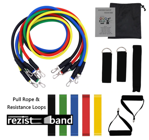 Rezistband Strength Pull Rope Band Set with Loop Bands - Hanging Buclke