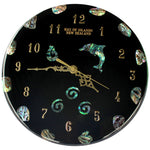 Load image into Gallery viewer, NZ Design Paua Clock Large                 all clocks can be made to your own design using our Maori symbols,fern,koru, matua, piriti, kiwis,marlin,dolphin,nz maps large or small just email to ask about your design